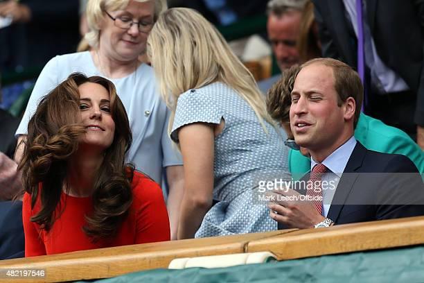 The Duke and Duchess of Cambridge look on from the Royal box on day nine of the Wimbledon Lawn Tennis Championships at the All England Lawn Tennis...