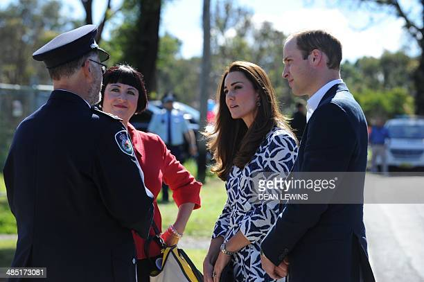 The Duke and Duchess of Cambridge Prince William and his wife Katherine meet with Rural Fire Services Superintendent David Jones and resident Miranda...