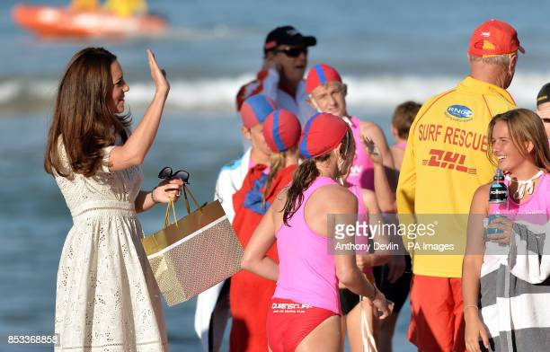The Duke and Duchess of Cambridge view a surf lifesaving display and meet volunteers at Manly Beach Sydney during the twelfth day of the Duke and...