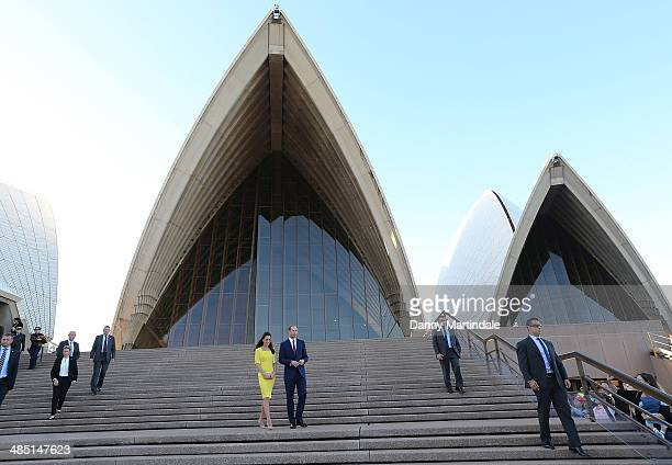 The Duke and Duchess of Cambridge walk down the stairs of the Sydney Opera House on April 16 2014 in Sydney Australia The Duke and Duchess of...