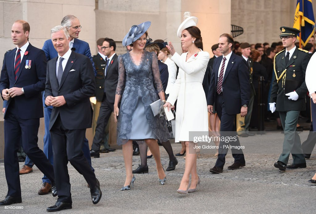 The Duke and Duchess of Cambridge with King Philippe (second left) and Queen Mathilde (centre left) of Belgium arrive at the Menin Gate in Ypres ahead of this evening's commemoration.