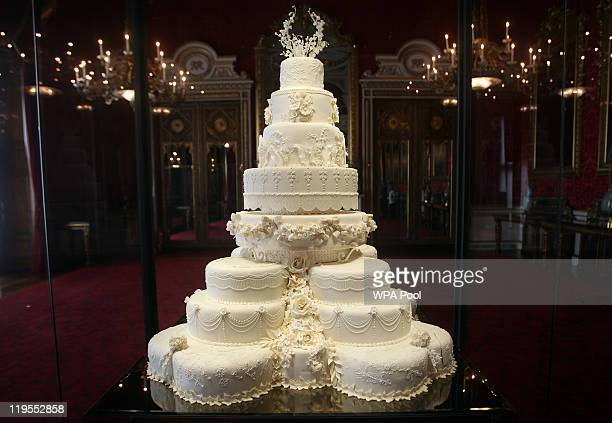The Duke and Duchess of Cambridge's royal wedding cake is photographed before it goes on display at Buckingham Palace during the annual summer...