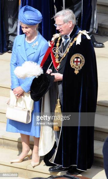 The Duke and Duchess of Gloucester attend the Order of the Garter ceremony at Windsor Castle on June 15 2009 in Windsor England