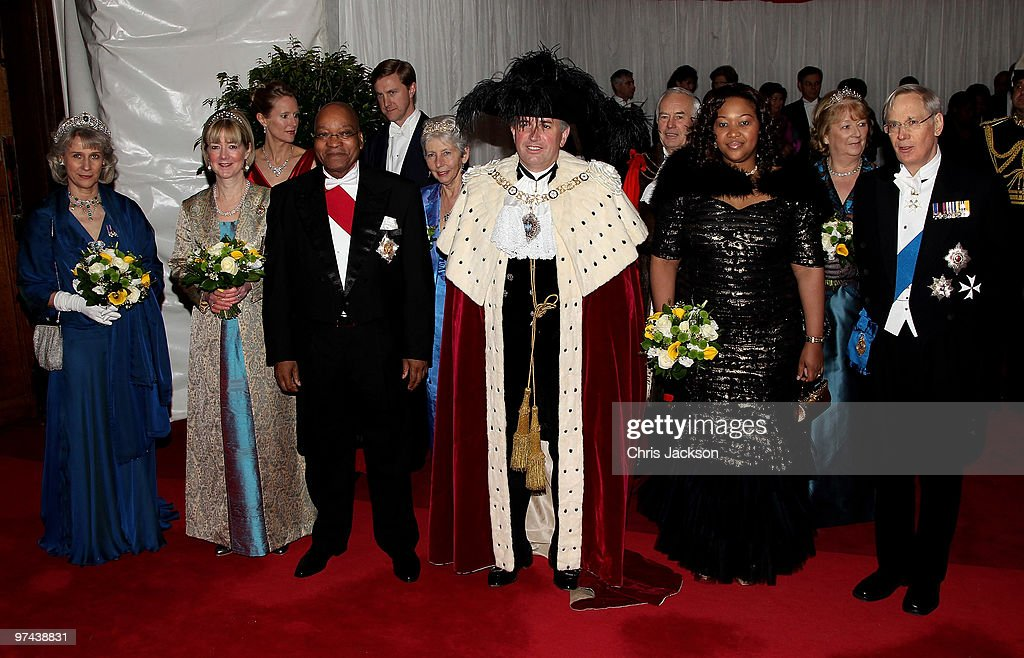 The Duke and Duchess of Gloucester pose for a photograph with South African President Jacob Zuma and his wife Thobeka Madiba Zuma and the Lord Mayor of London Nick Anstee as they arrive at the Guildhall for a reception and banquet on March 4, 2010 in London, England. President Zuma and his wife are visiting the United Kingdom on a three day state visit.