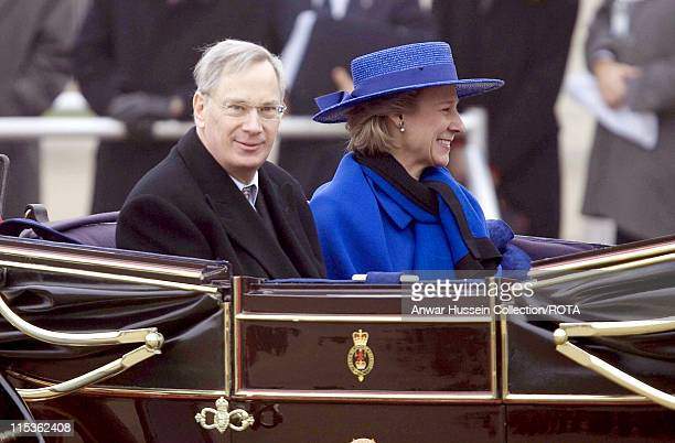 The Duke and Duchess of Glouchester at the welcoming ceremony for the President of the Italian Republic and his wife Signora Ciampi during their...
