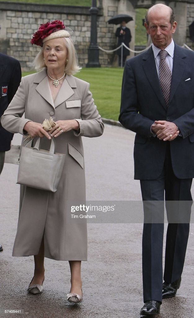The Duke and Duchess of Kent arrive at George's Chapel Windsor Castle for Thanksgiving Service for the Queen's 80th Birthday on Apr23, 2006 in Windsor, England.