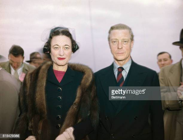The Duke and Duchess of Windsor are shown arriving on the Queen Elizabeth Dec 1946