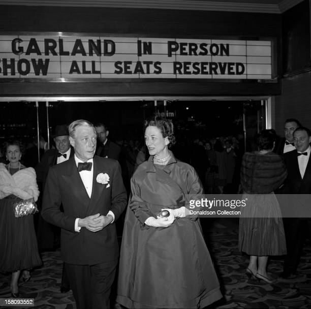The Duke and Duchess of Windsor attend the opening night of Judy Garland at the RKO Palace on September 26 1956 in New York City New York