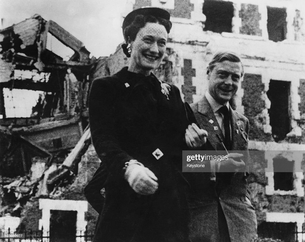 The Duke (1894 - 1972) and Duchess (1896 - 1986) of Windsor visit a war-damaged building in Madrid, 15th July 1940.