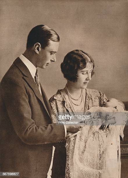 'The Duke and Duchess of York at the christening of their daughter the Princess Elizabeth ' 1926 From Our King Queen and the Royal Princesses [Odhams...