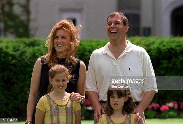 The Duke And Duchess Of York With Their Daughters Princess Beatrice And Princess Eugenie At Wentworth Golf Club For A Charity Golf Match In Aid Of...