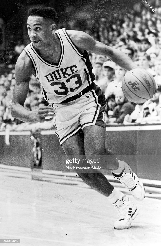 The Duke Basketball player sophomore, <a gi-track='captionPersonalityLinkClicked' href=/galleries/search?phrase=Grant+Hill+-+Basketball+Player&family=editorial&specificpeople=201658 ng-click='$event.stopPropagation()'>Grant Hill</a>, scorer for the Blue Devils to take the NCAA title, January 18, 1992.