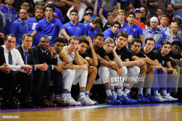 The Duke Blue Devils bench reacts in the second half against the South Carolina Gamecocks during the second round of the 2017 NCAA Men's Basketball...