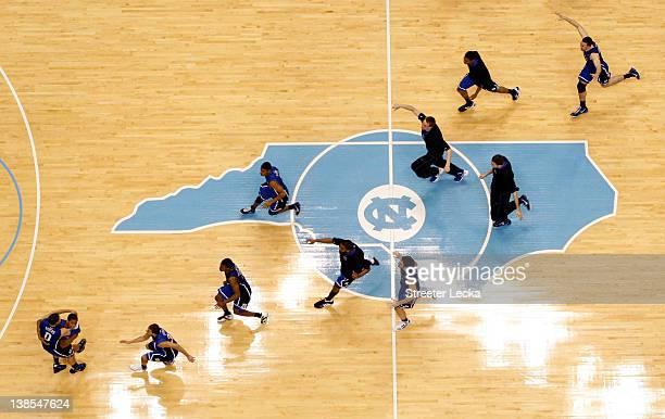The Duke Blue Devils celebrate after Austin Rivers makes a gamewinning 3 pointer as time expires to defeat the North Carolina Tar Heels 8584 at the...