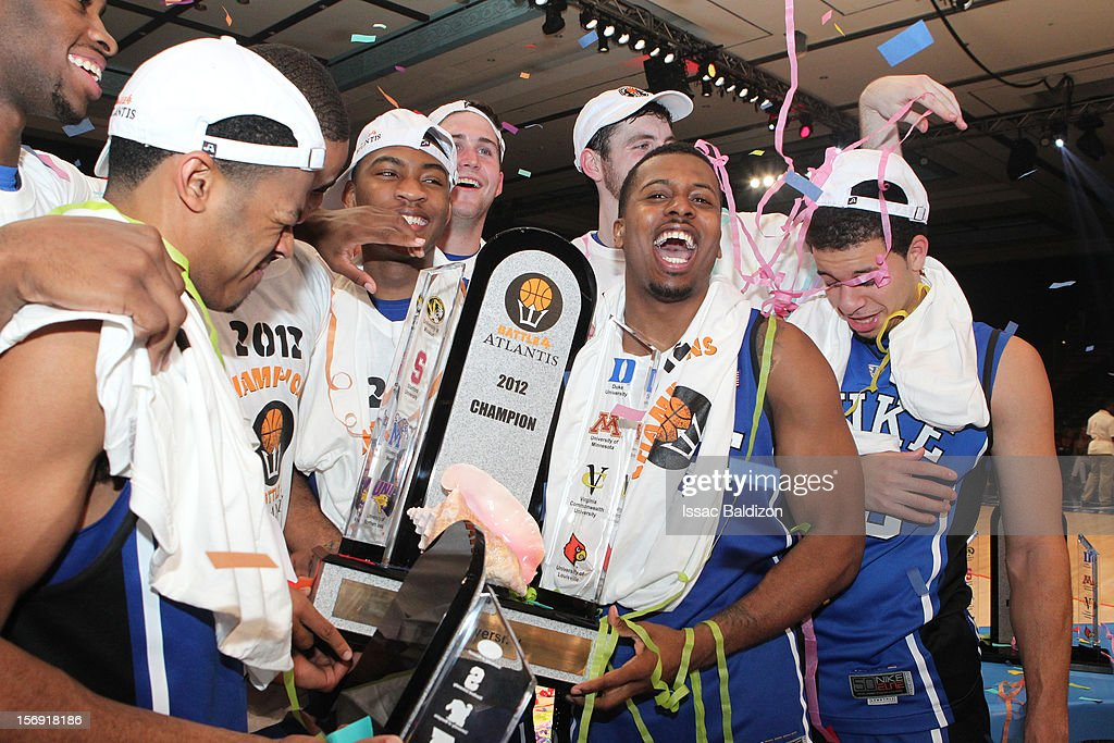 The Duke Blue Devils celebrate winning the Battle 4 Atlantis tournament at Atlantis Resort November 24, 2012 in Nassau, Paradise Island, Bahamas.