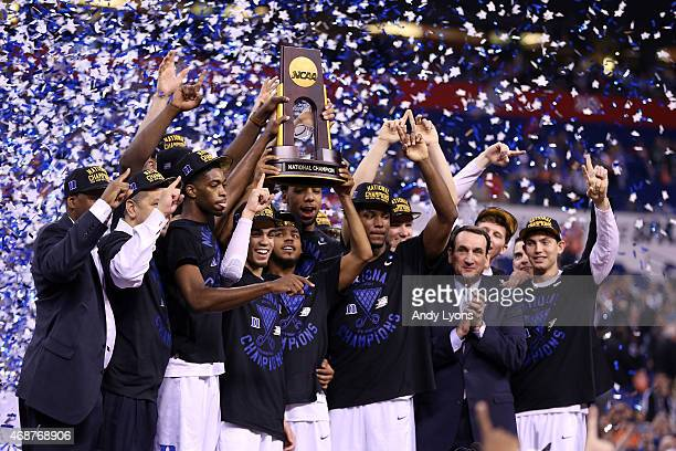The Duke Blue Devils celebrate with the championship trophy after defeating the Wisconsin Badgers during the NCAA Men's Final Four National...