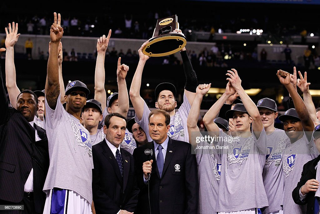 The Duke Blue Devils celebrate with the trophy after they won 61-59 against the Butler Bulldogs during the 2010 NCAA Division I Men's Basketball National Championship game at Lucas Oil Stadium on April 5, 2010 in Indianapolis, Indiana.