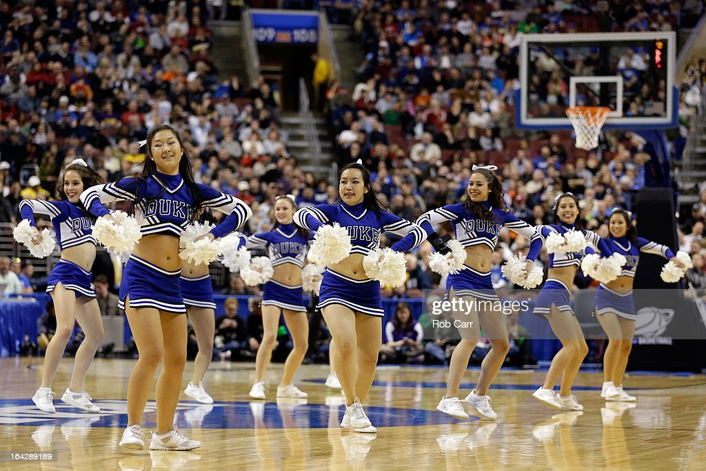 The Duke Blue Devils cheerleaders perform during a break in the game against the Albany Great Danes during the second round of the 2013 NCAA Men's Basketball Tournament on March 22, 2013 at Wells Fargo Center in Philadelphia, Pennsylvania.