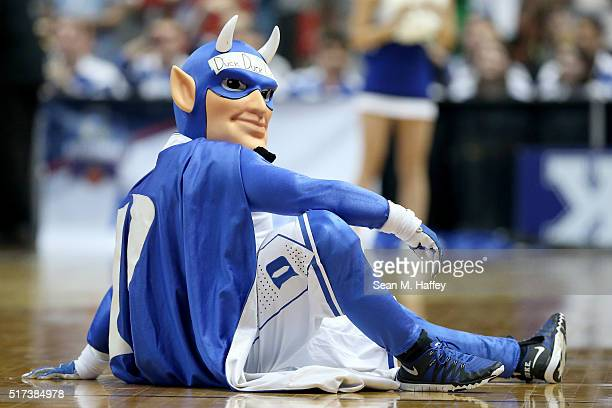The Duke Blue Devils mascot performs as the Blue Devils take on the Oregon Ducks in the 2016 NCAA Men's Basketball Tournament West Regional at the...