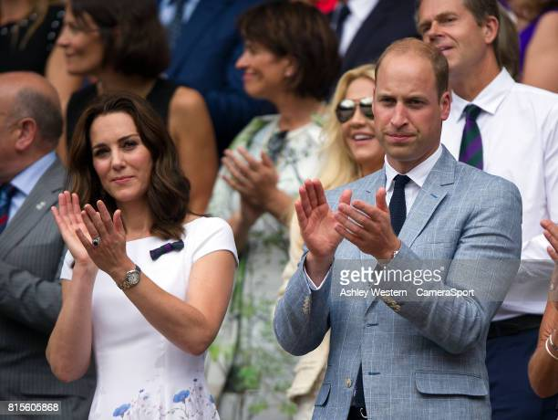 The Duke HRH The Duchess of Cambridge applaud Roger Federer on his victory at Wimbledon on July 16 2017 in London England