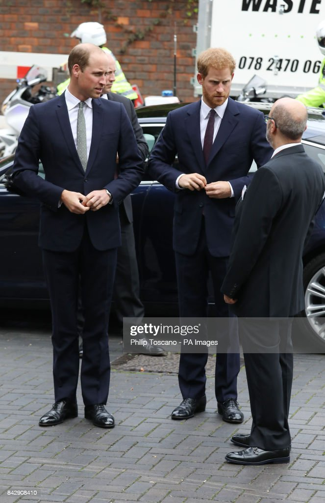 the-duke-of-cambridge-and-prince-harry-arrive-to-visit-the-new-hub-picture-id842908410