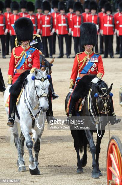 The Duke of Cambridge and the Prince of Wales arrive at Horse Guards Parade London to attend Trooping the Colour PRESS ASSOCIATION Photo Picture date...