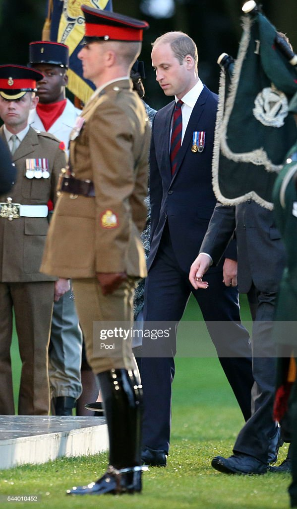 The Duke of Cambridge attends part of a military-led vigil to commemorate the 100th anniversary of the beginning of the Battle of the Somme at the Thiepval memorial to the Missing in June 30, 2016 in Thiepval, France. The event is part of the Commemoration of the Centenary of the Battle of the Somme at the Commonwealth War Graves Commission Thiepval Memorial in Thiepval, France, where 70,000 British and Commonwealth soldiers with no known grave are commemorated.