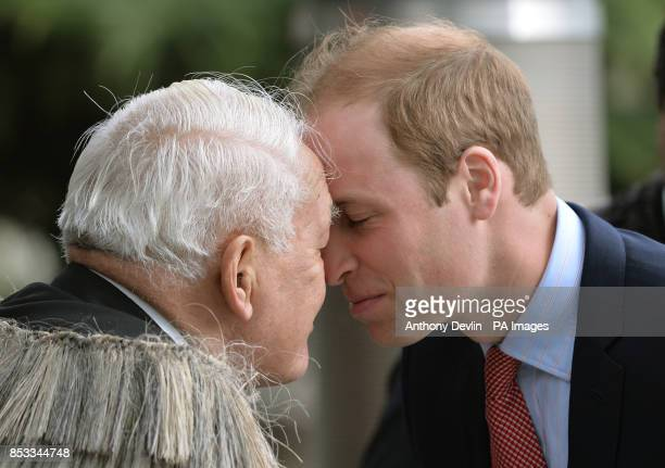 The Duke of Cambridge is greeted by members of the Ngai Tahu iwi as they attend a welcome ceremony at Christchurch City Council Building during the...