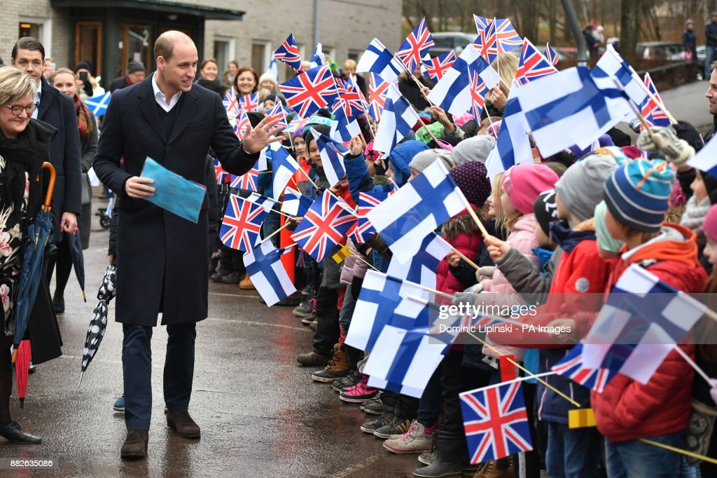 The Duke of Cambridge is greeted by school children as he arrives at Lauttasaari Comprehensive School in Helsinki, to see the ways in which the Finnish education system is putting student welfare and mental well being at the top of its agenda, on the second day of his tour of Finland.
