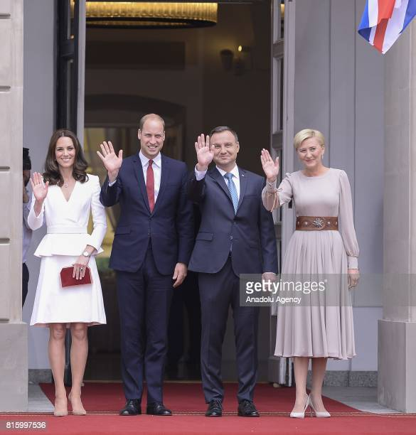 The Duke of Cambridge Prince William and the Ducheness of Cambridge Catherine Middleton pose for a photo with President of Poland Andrzej Duda and...