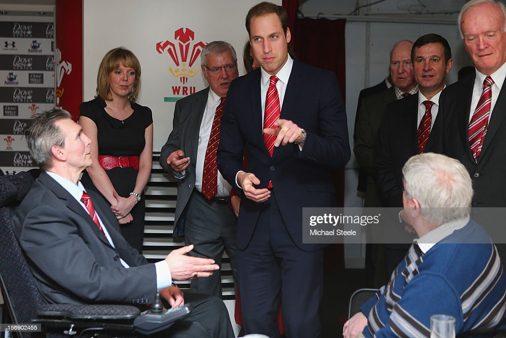 The Duke of Cambridge talks to former players and beneficeries of the Charitable Trust which supports injured players in Wales ahead of the Autumn International rugby match between Wales and New Zealand at the Millennium Stadium, Cardiff on November 24, 2012 in Cardiff, Wales.