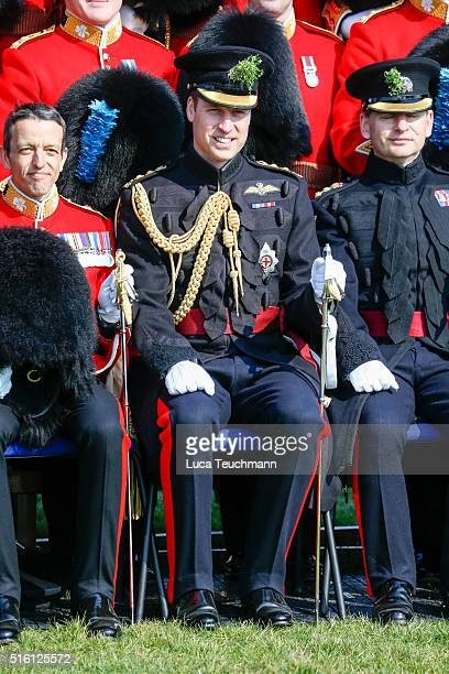 The Duke Of Cambridge visits The 1st Battalion Irish Guards for the St Patrick's Day parade on March 17 2016 in London United Kingdom
