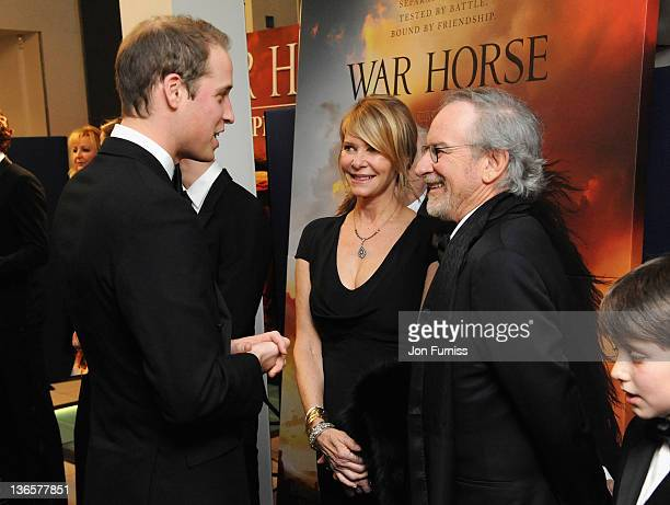 The Duke of Cambridge with Kate Capshaw and director Steven Spielberg as they attend the 'War Horse' UK film premiere at the Odeon Leicester Square...