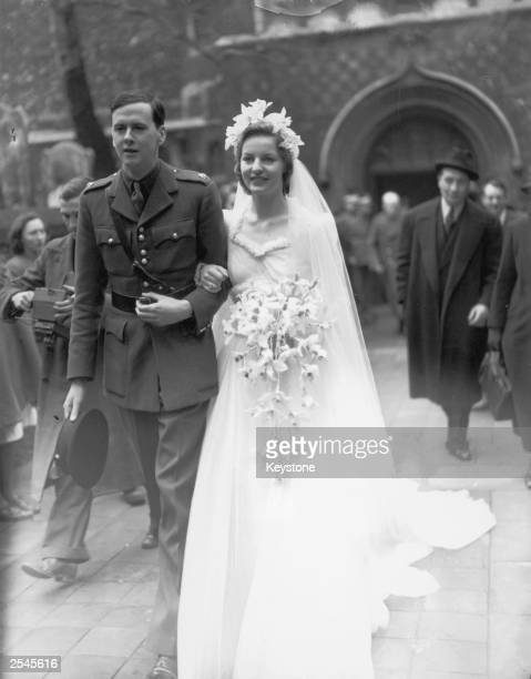 The Duke of Devonshire Lord Andrew Cavendish and his wife Deborah Mitford after their wedding 19th April 1941