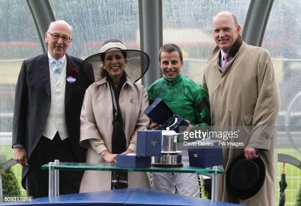The Duke of Devonshire presents the awards for the Wolferton Handicap to Jockey William Buick owner HRH Princess Haya Of Jordan and Trainer John...