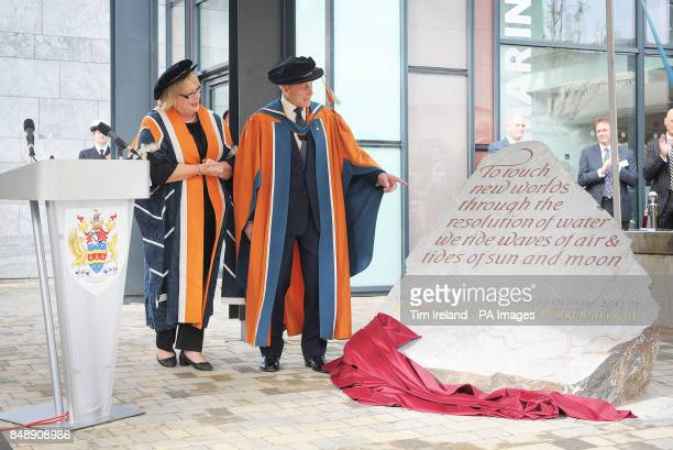 The Duke of Edinburgh accompanied by University Vice Chancellor Professor Wendy Purcell unveils an inscribed stone to open the new Marine Building...
