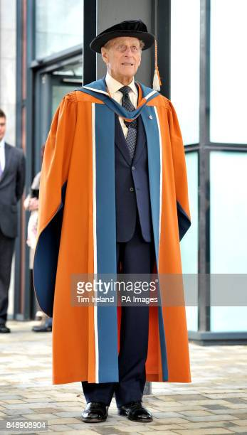 The Duke of Edinburgh after receiving an honorary doctorate of marine science from Plymouth University in recognition of his decorated career in the...