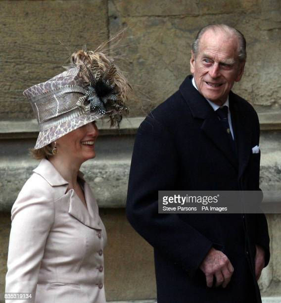 The Duke of Edinburgh and Countess of Wessex after the Easter Mattins service at St George's Chapel in the grounds of Windsor Castle Berkshire
