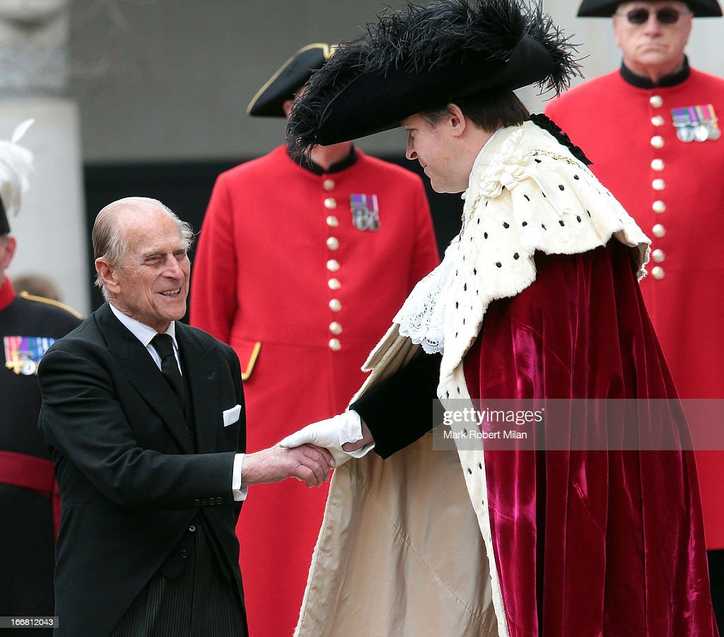 The Duke Of Edinburgh and Lord Mayor of the City of London Roger Gifford sighting during the funeral of former British prime minister Margaret Thatcher, on April 17, 2013 in London, England.