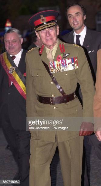 The Duke of Edinburgh arrives at the Menin Gate for the 25000th 'Last Post' ceremony in Ypres Belgium As part of the commemmoration which was...