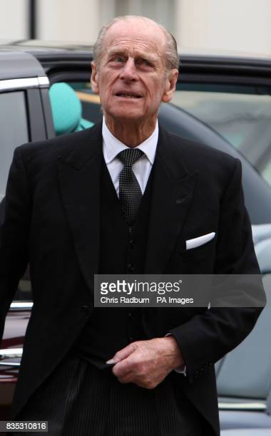 HRH The Duke of Edinburgh arrives at The Subscription Rooms after attending the traditional Maundy Thursday Service at Bury St Edmunds Cathedral...