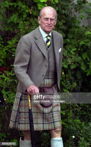 The Duke of Edinburgh arrives on the lawn of Balmoral castle to be presented to his guests and watch the Highland Band of the Scottish Devision...