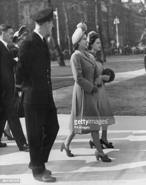 The Duke of Edinburgh arrives with Princess Margaret and Princess Elizabeth for the unveiling ceremony of a seventon bronze memorial statue of former...