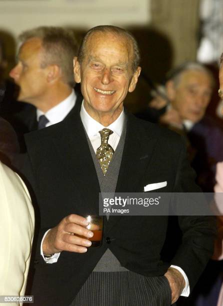 The Duke of Edinburgh at the Guildhall in London talks to guests during the lunch given by the Lord Mayor of London Sir David Howard to mark the...