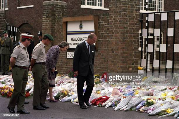 The Duke of Edinburgh Captain general of the Royal Marines and Countess Mountbatten Vice LordLieutenant of Kent viewing the floral tributes outside...