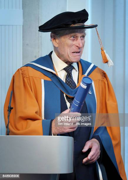 The Duke of Edinburgh gives a speech after receiving an honorary doctorate of marine science from Plymouth University in recognition of his decorated...
