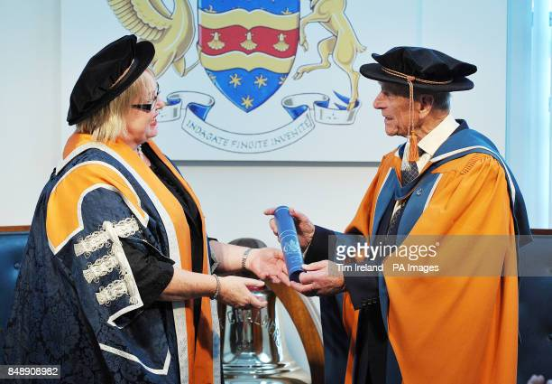 The Duke of Edinburgh is presented with an honorary doctorate of marine science from Plymouth University by Vice Chancellor Wendy Purcell in...