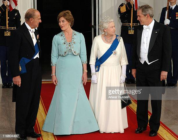 The Duke of Edinburgh Laura Bush HM Queen Elizabeth II and President George W Bush attend a State Banquet at the White House Washington DC on May 7...