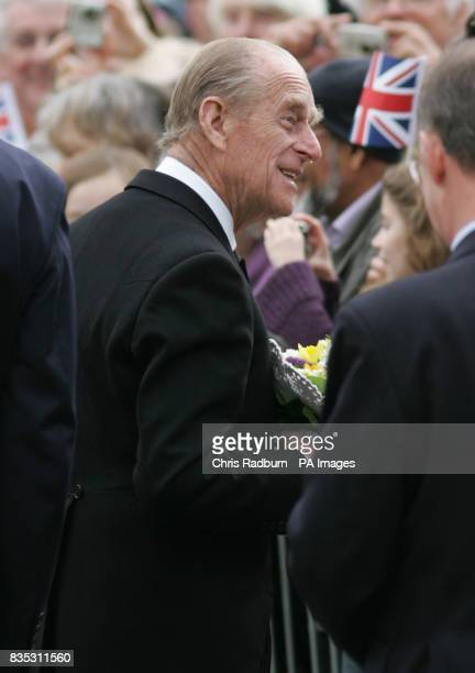 HRH The Duke of Edinburgh leaves Bury St Edmunds Cathedral after attending the traditional Maundy Thursday Service at Bury St Edmunds Suffolk