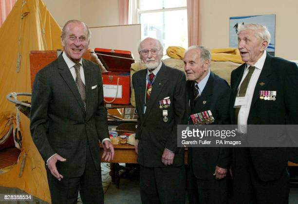 The Duke of Edinburgh meets former polar explorers Dr Philip Law Squadron Leader Douglas Leckie and Bill Storer at the Royal Society Building in...